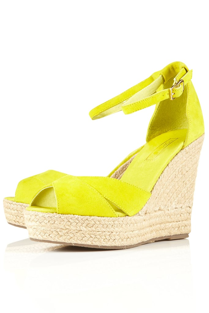 Whether you're in denim or all-out color, you can channel the neon trend with these bright yellow wedges.  Topshop Whistle Espadrille Wedges ($84)