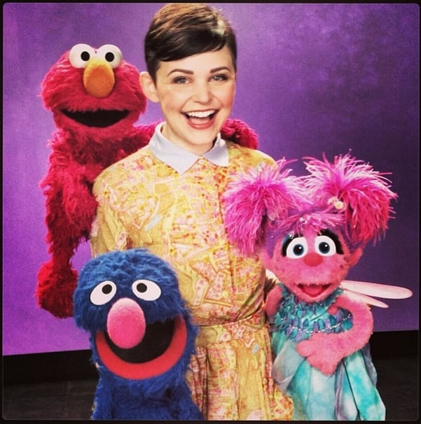 Elmo didn't have to dress up, but Ginnifer Goodwin made sure to look effortlessly chic when posing with her Muppet friends. Source: Instagram user ginnygoodwin