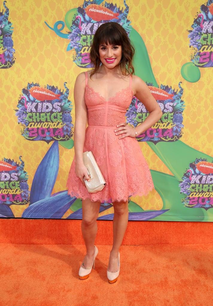Lea Michele glowed in a pink dress.