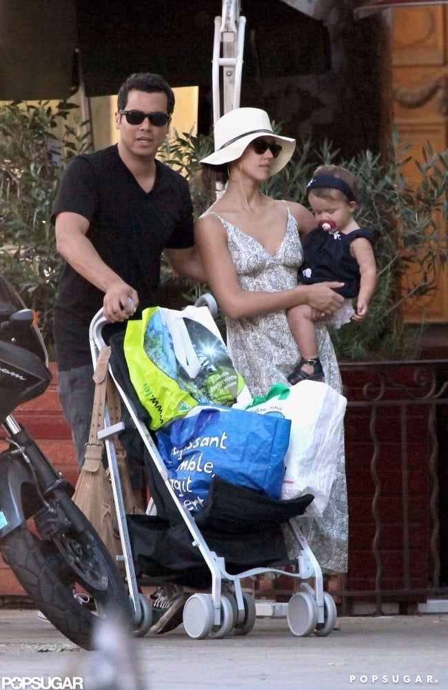 Jessica Alba and Cash Warren toured France with daughter Honor in June 2009.
