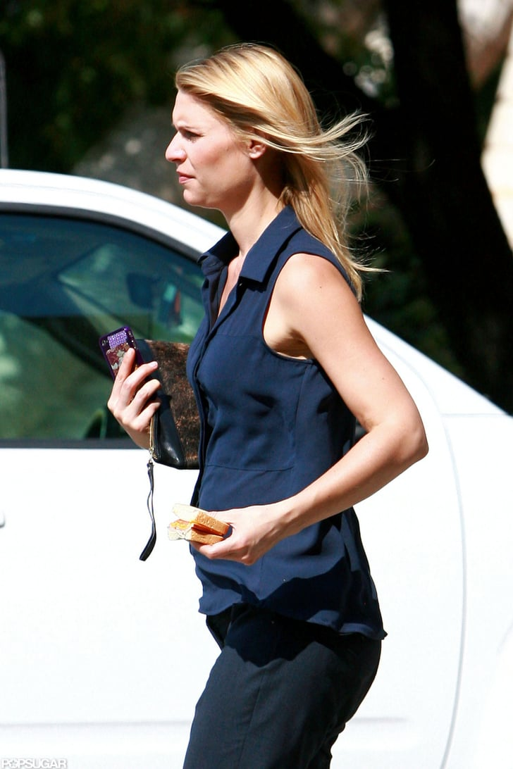 Claire Danes's hair flowed freely on set.