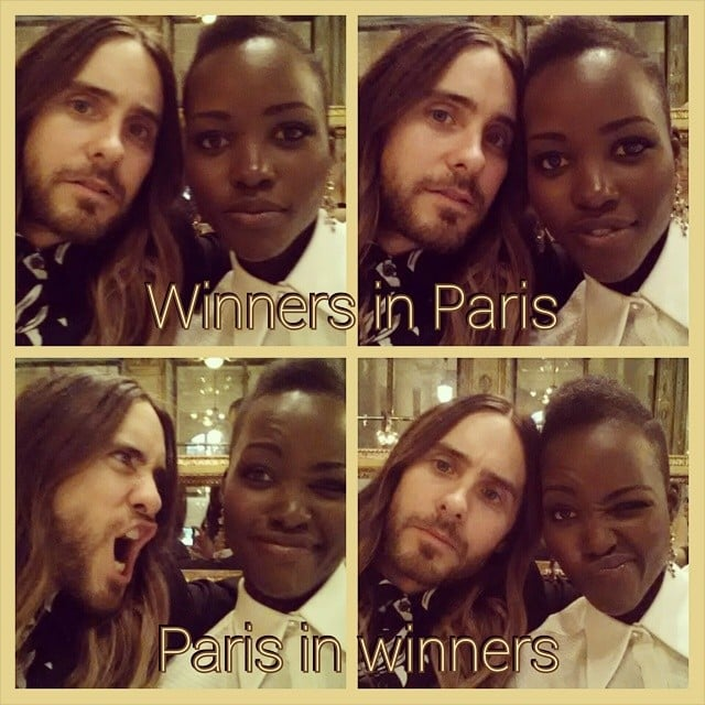Lupita Nyong'o and Jared Leto posed for an adorable set of selfies in Paris. Source: Instagram user lupitanyongo