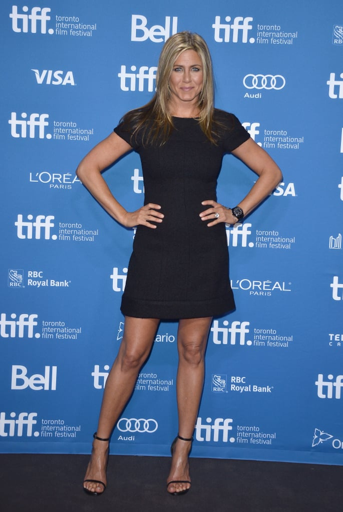For the Life of Crime press conference in Toronto, Jennifer was sleek in a little black dress and black ankle-strap sandals.