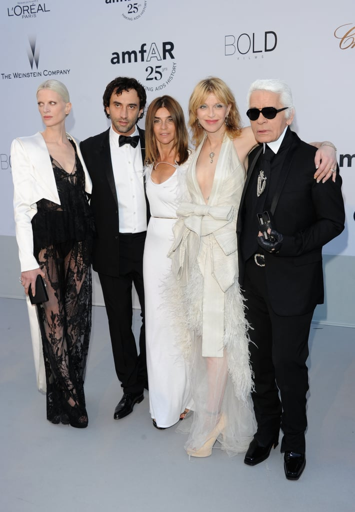 Kristen McMenamy, Riccardo Tisci, Carine Roitfeld, Courtney Love, all in Givenchy, and Karl Lagerfeld