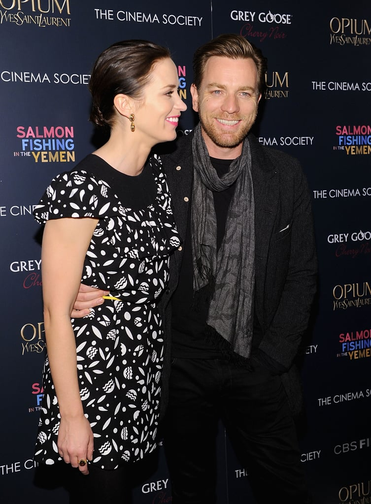 Emily Blunt and Ewan McGregor were all smiles upon their arrival.