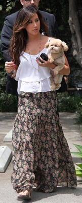 Ashley Tisdale in Long Floral Skirt in West Hollywood