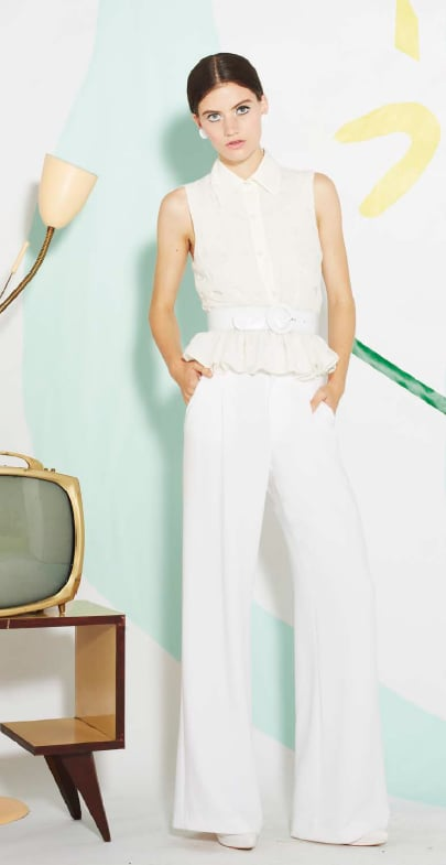 We love the buttoned-up feel here, and white on white is such a must for Spring.
