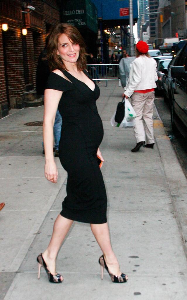Tina Fey's Baby Bump Outside Letterman