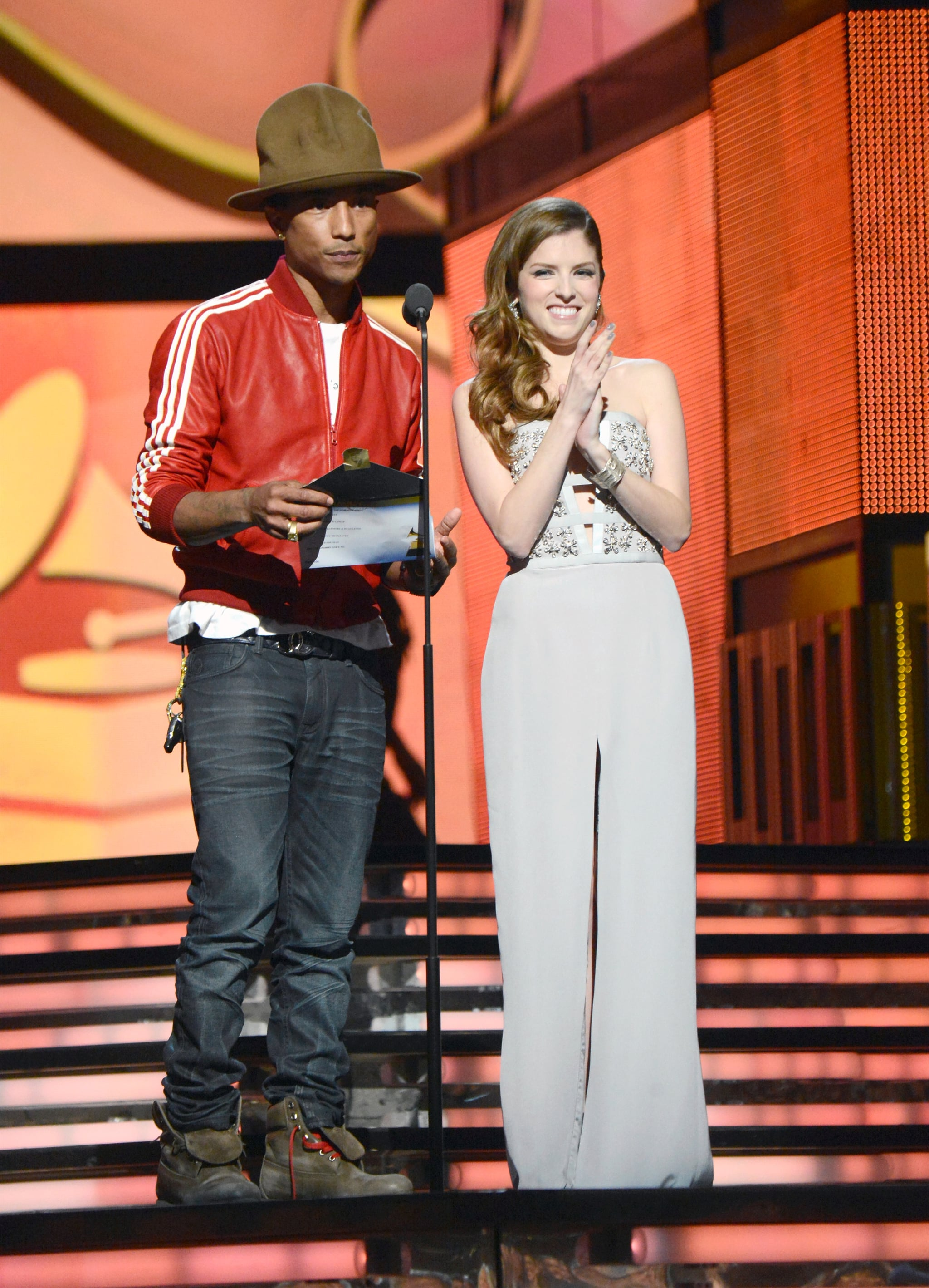 Pharrell's hat looked thrilled to be presenting alongside Anna Kendrick.