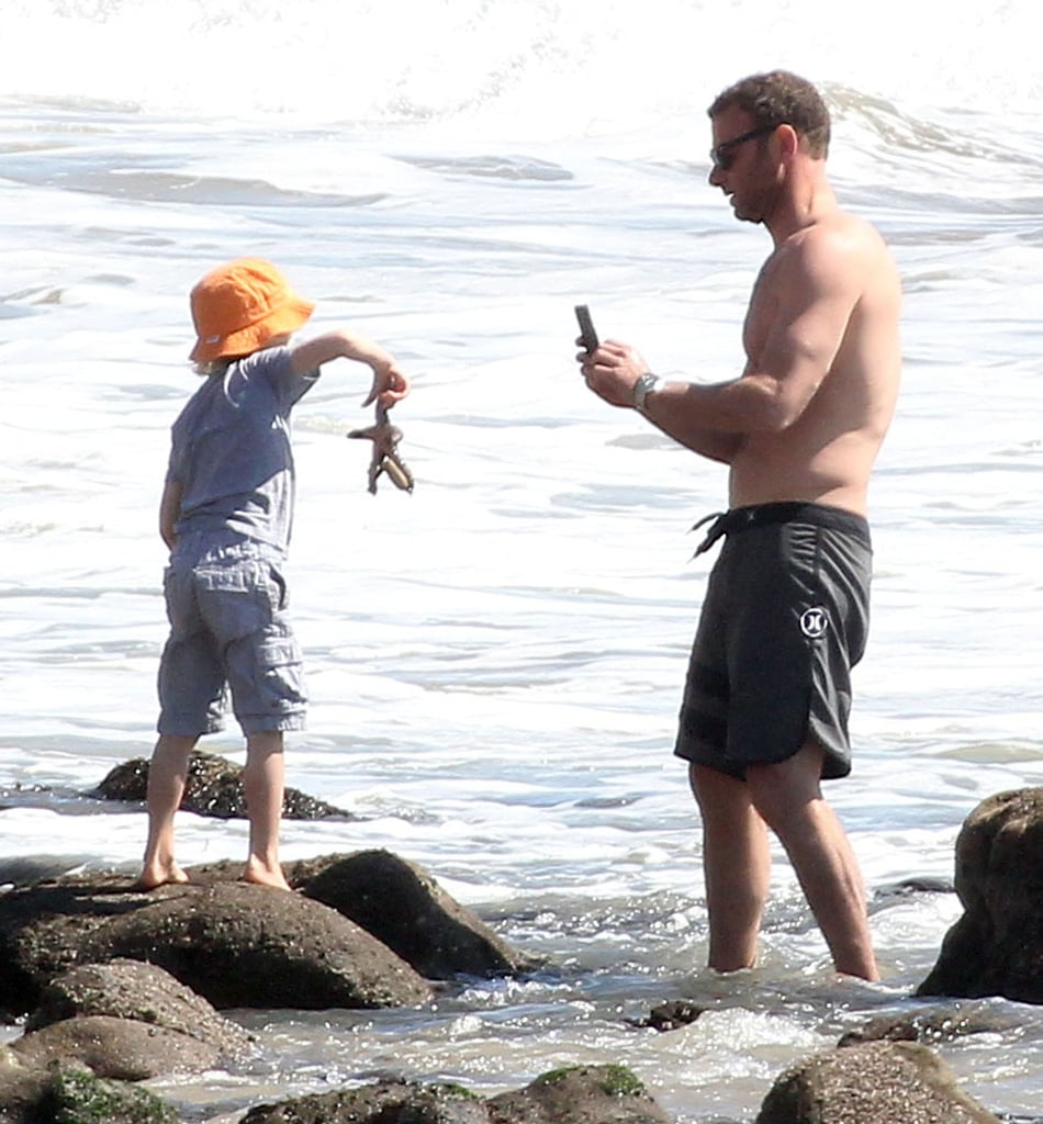 Naomi Watts and Shirtless Liev Schreiber Spend a Day at the Beach With Their Boys
