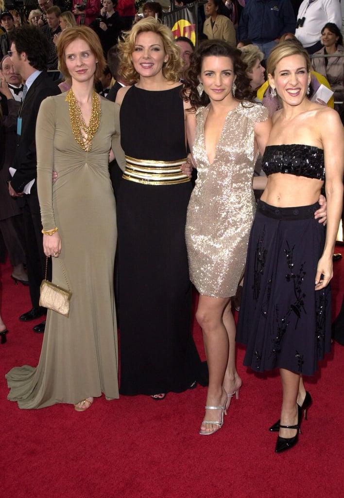 Cynthia Nixon, Kim Cattrall, Kristin Davis, and Sarah Jessica Parker wore some interesting getups at the 2001 ceremony.