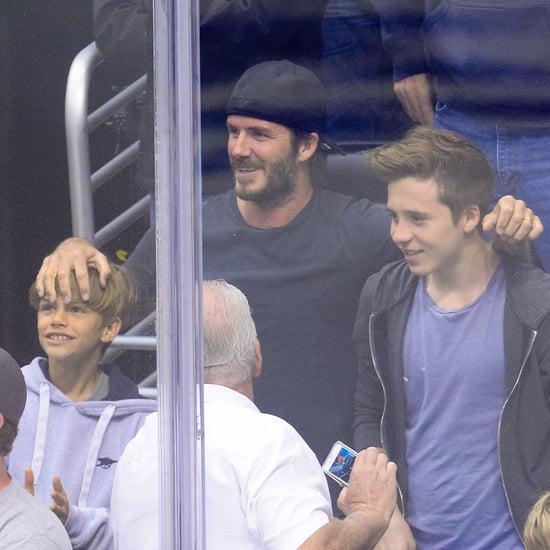 David Beckham and His Sons at LA Kings Hockey Game