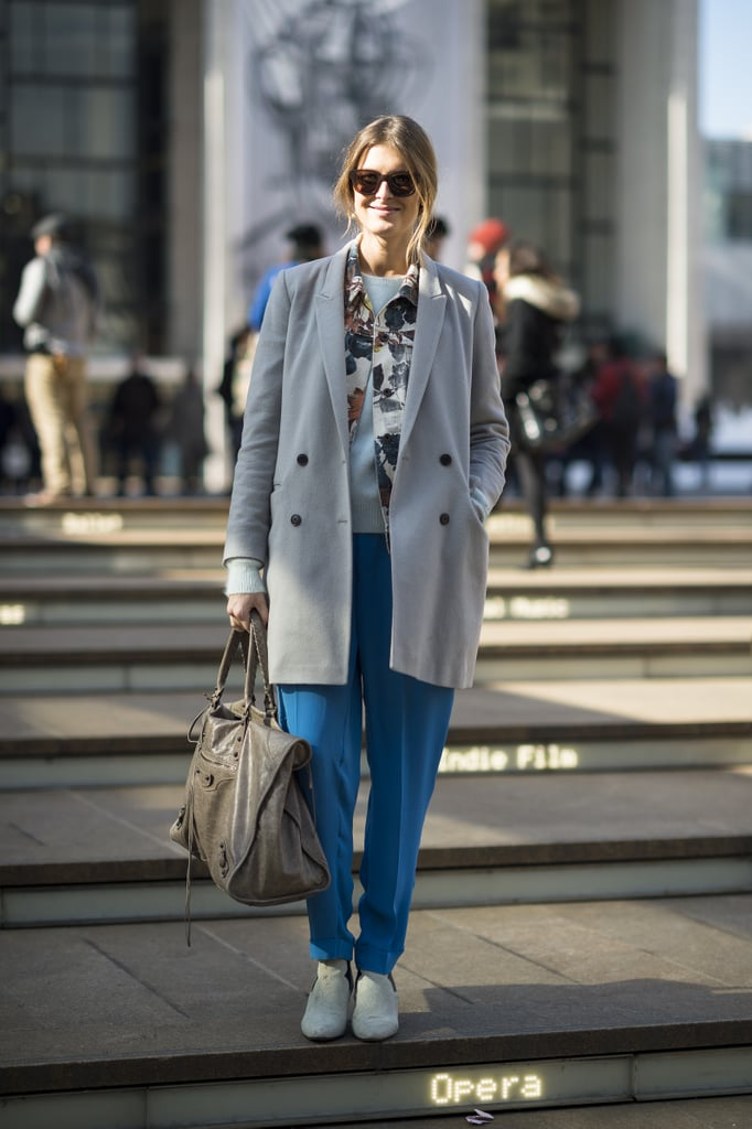 A simple, double-breasted coat was a perfect complement to her bright trousers. Source: Le 21ème   Adam Katz Sinding