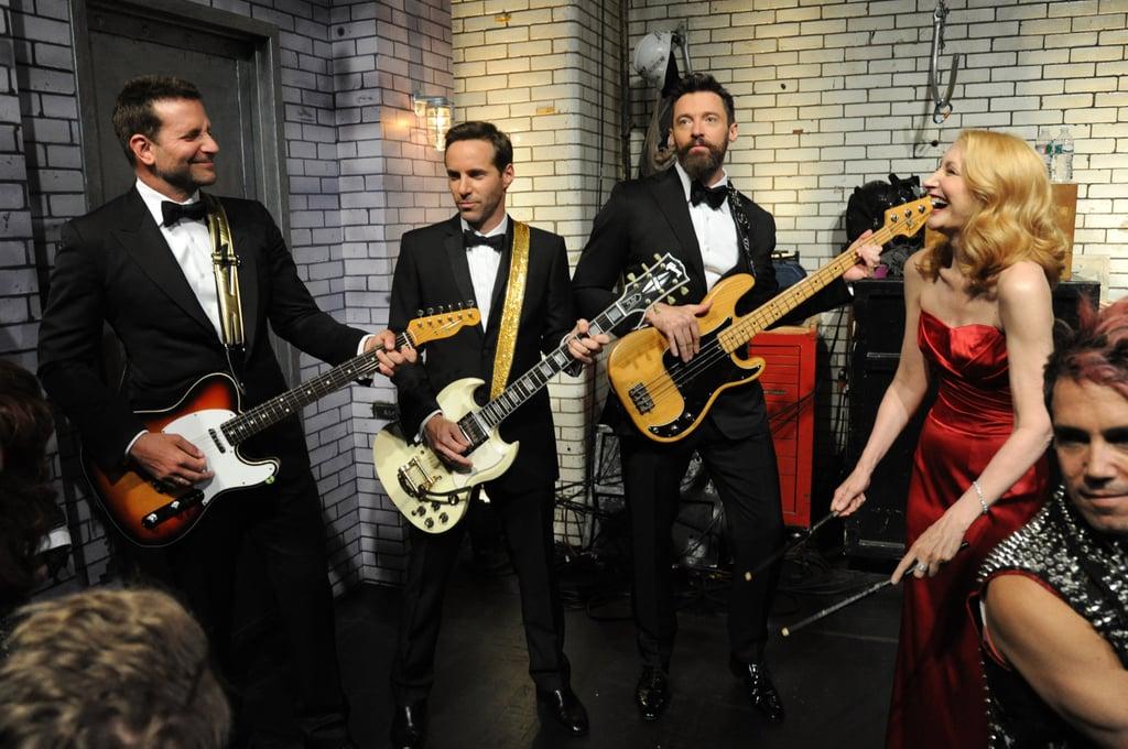 Bradley Cooper, Alessandro Nivola, Hugh Jackman, and Patricia Clarkson had a jam session backstage at the Tony Awards on Sunday in NYC.