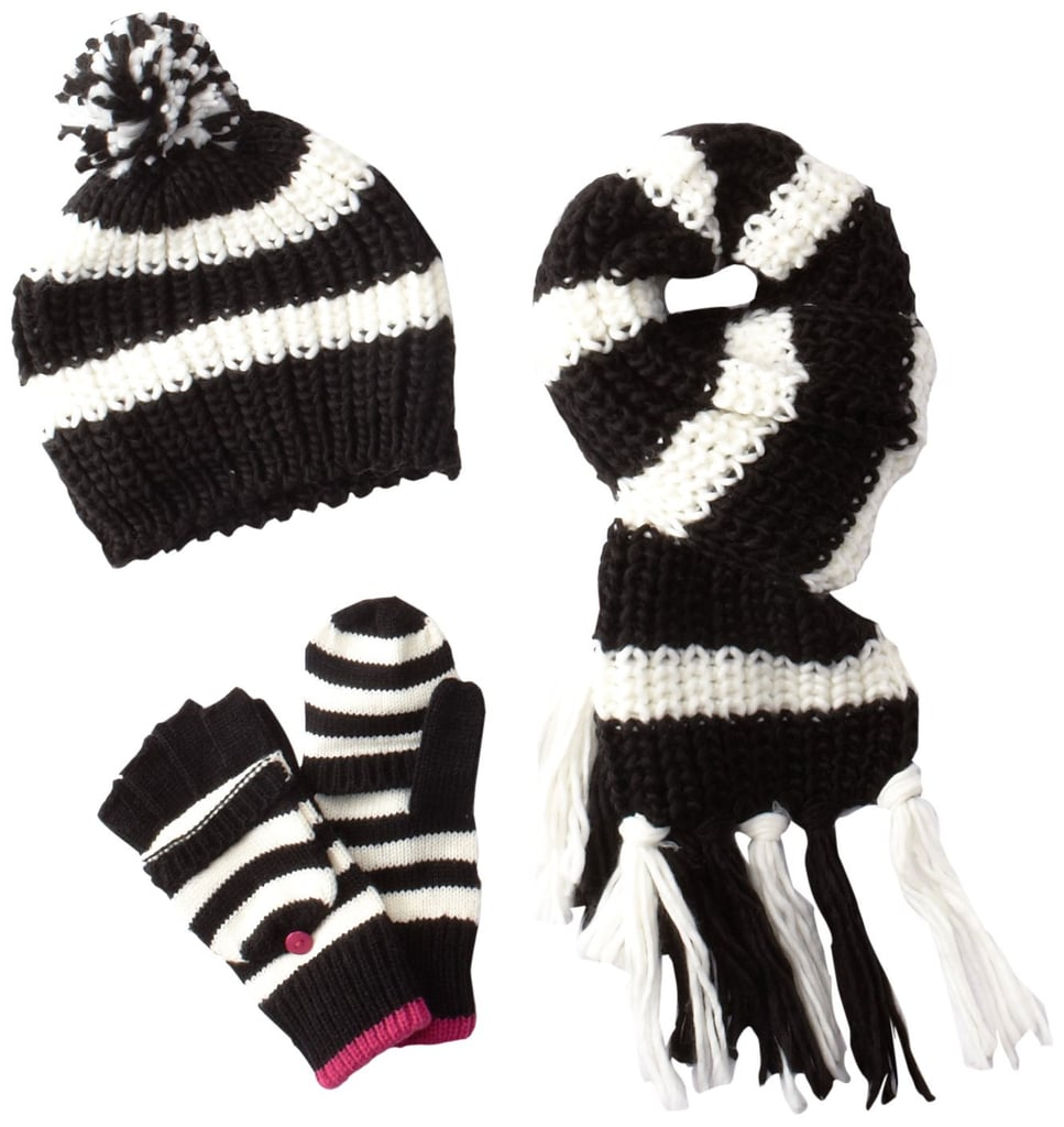 The black and white Berkshire Girls Striped Cold Weather Hat Set ($30) is a classic option that'll go well with everything.