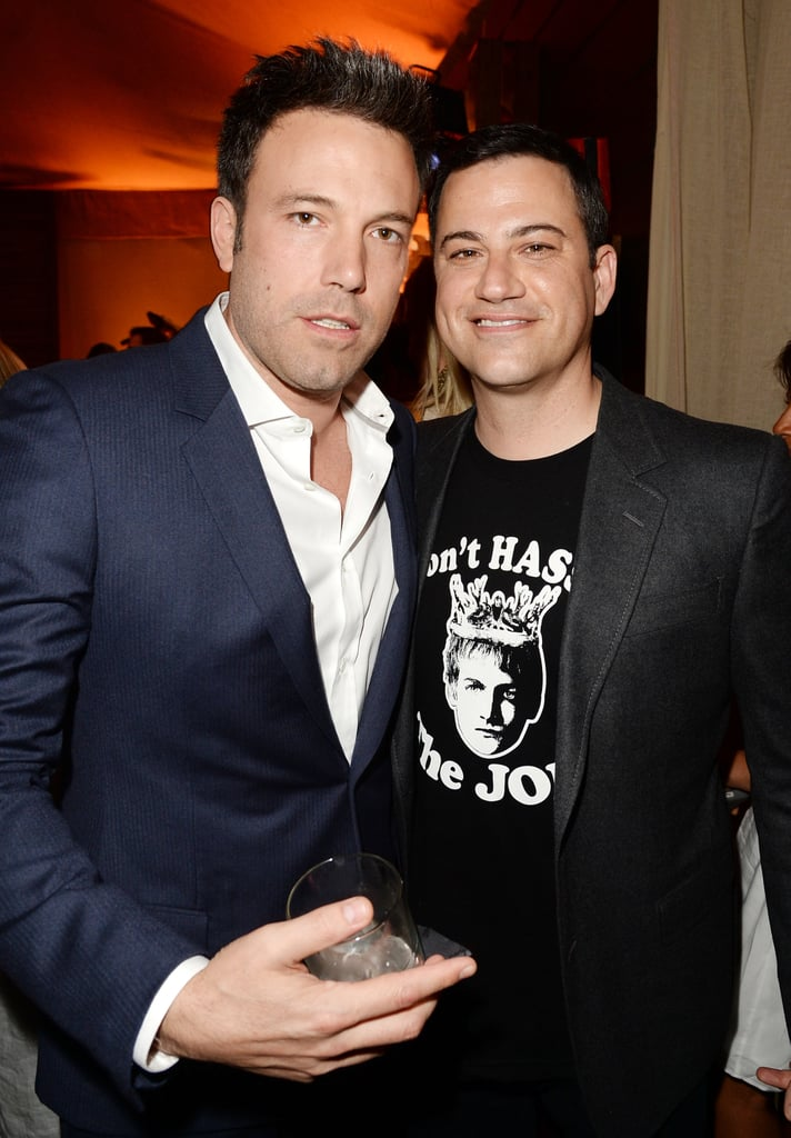 Ben Affleck held onto a drink while hanging backstage with Jimmy Kimmel.