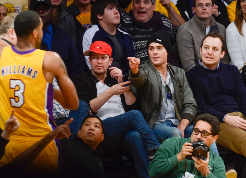 Zac Efron got into the basketball spirit when he attended a Lakers game in LA.