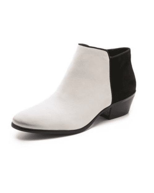 What's not to love about a slick black-and-white bootie like this