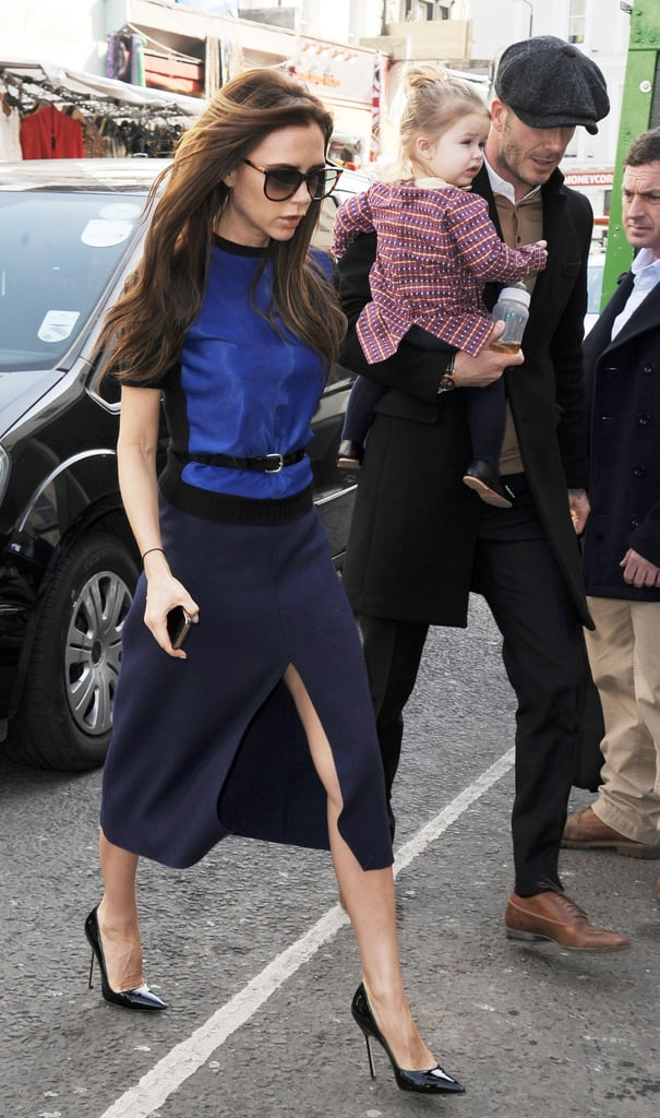 Victoria Beckham and David Beckham brought Harper along for an outing in London on Sunday.