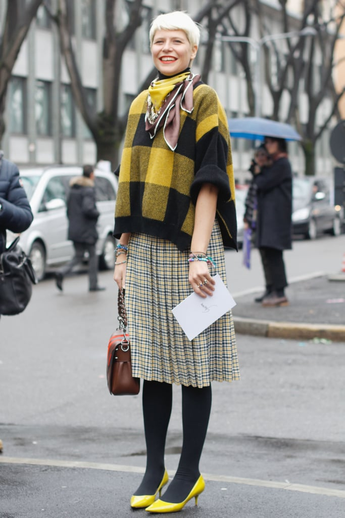 Elisa Nalin mixed plaids for a quirky play on ladylike.