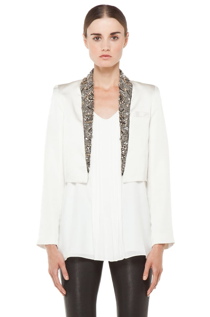 This Haute Hippie Cropped Embellished Blazer ($785) is the sleekest, most beautiful tuxedo jacket we've ever met.