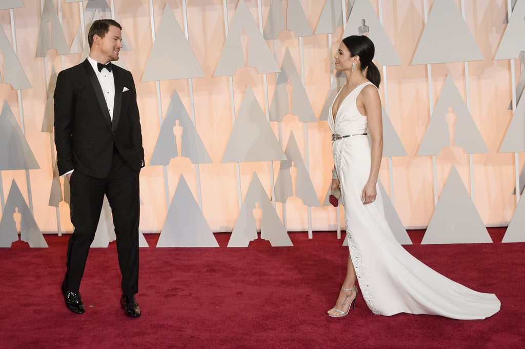 Channing smiled at his gorgeous wife as she struck some poses on her own on the Oscars red carpet in February 2015.