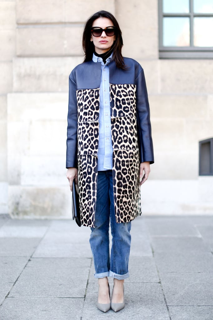 Take note: all it took here was a gorgeous leather and leopard coat to amp up simple denim separates.
