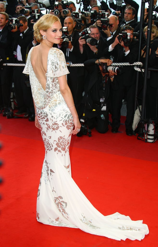 The back of Diane's ethereal Marchesa gown at the 2009 Inglourious Basterds premiere.