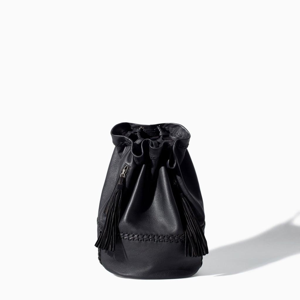 Leather Bucket Rucksack With Tassels ($129)