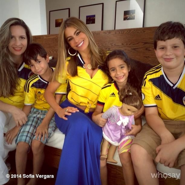 Sofia Vergara cheered on Colombia with her family. Source: Instagram user sofiavergara