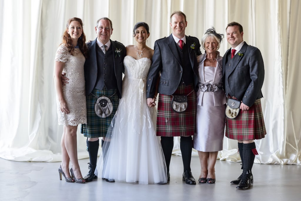 After the ceremony, Mimi changed into her Western wedding gown and Stuart changed into his Scottish kilt. Photo by Chrisman Studios