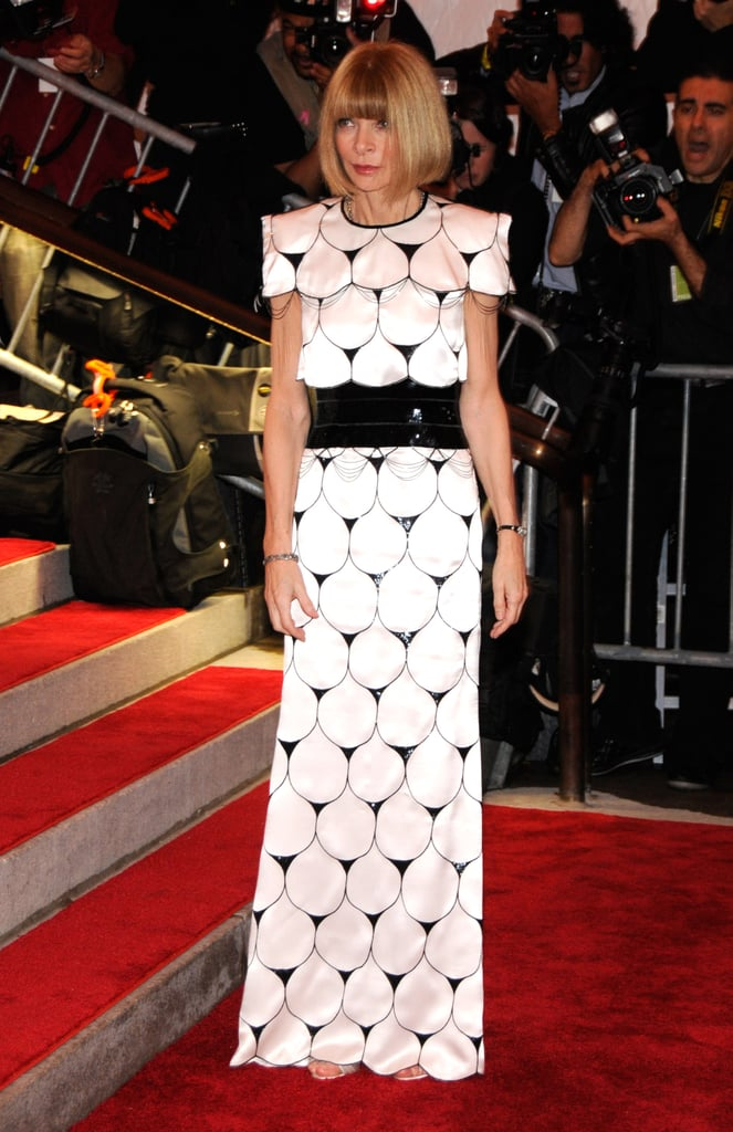 Anna Wintour has made a habit of wearing Chanel gowns to the Costume Institute's annual gala, and she wore a spectacular black-and-white patterned dress from Karl Lagerfeld's Spring 2009 Chanel Couture collection to the opening of The Model as Muse exhibit.