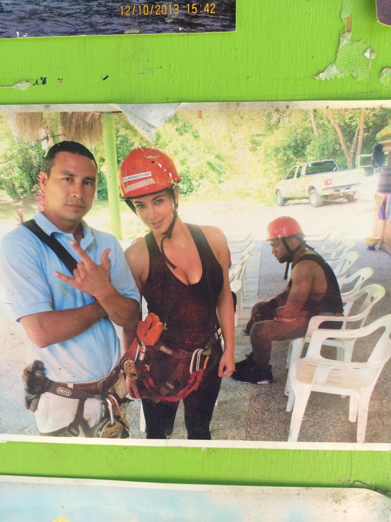 """Found it in a random zip-lining office in the middle of Mexico. They took it, and I don't think it's ever been online . . . "" Alternative caption: Kanye West couldn't look any less excited about zip-lining. Source: Reddit user loltatz via Imgur"