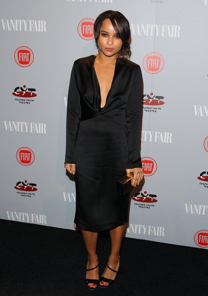 Zoe Kravitz also went for a sleek black look.