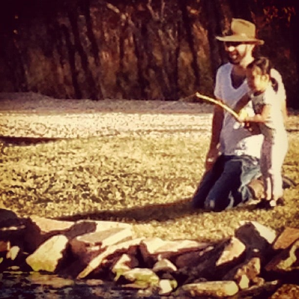 Josh Kelley taught Naleigh how to fish in Park City. Source: Instagram user joshbkelley