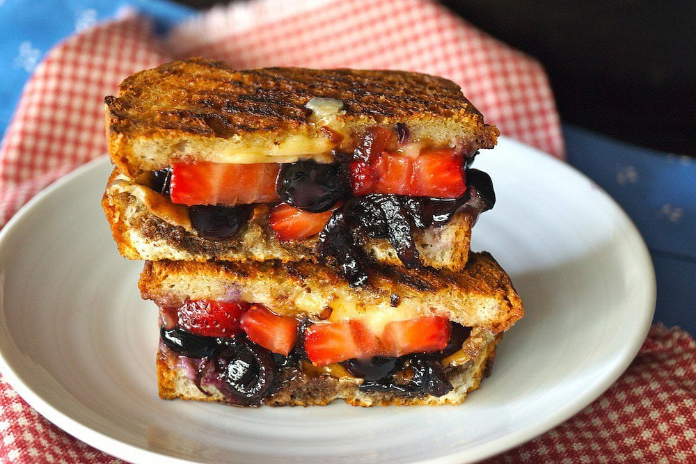 Blueberry and Strawberry Balsamic Grilled Cheese