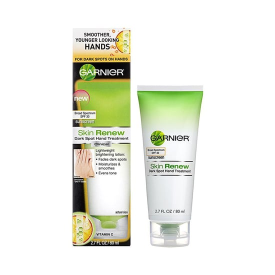 When it comes to skin care, don't forget your hands. Your digits are susceptible to sun spots too. Try Garnier Skin Renew Dark Spot Hand Treatment SPF 30 ($8) to keep them safe from the sun's intense rays.