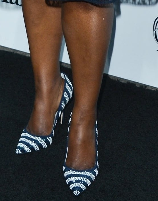Octavia Spencer went nautical in striped pumps at the Women in Film pre-Oscar cocktail party.