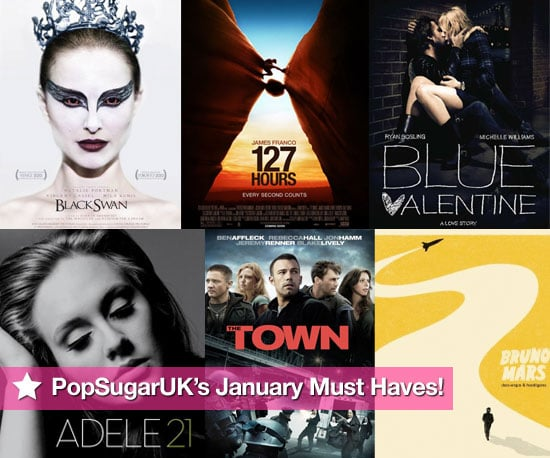 PopSugarUK's January Entertainment Must Haves, inc 127 Hours, Black Swan, Adele, The King's Speech