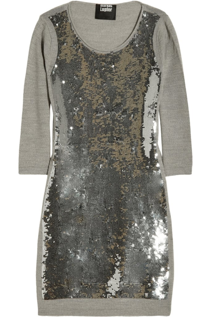 Silver sequins are flashy by nature, but the relaxed construction of this wool Markus Lupfer dress ($110, originally $550) makes it wearable at more casual events, too.