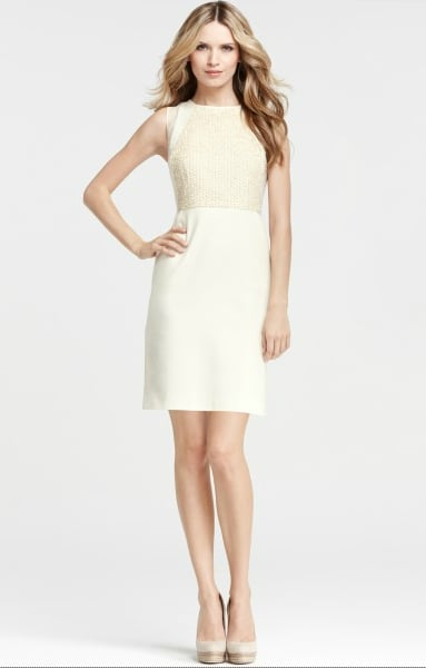 This sheath is not only superflattering, but the sequined top also feels festive while still being appropriate for a more conservative wedding and party.  Ann Taylor Confetti Dress ($248)