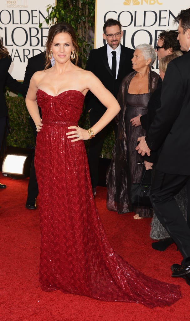 Jennifer Garner looked the the Hollywood star that she is in this ruby-hued, strapless Vivienne Westwood number.
