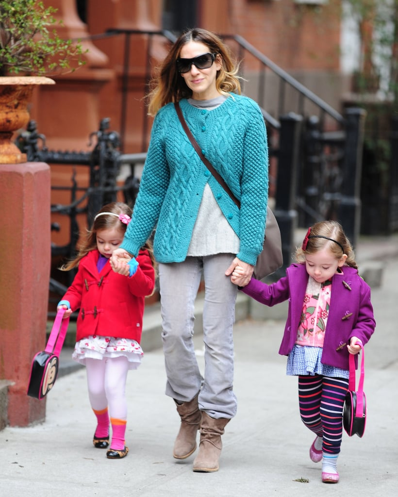 Sarah Jessica Parker took her twin girls Tabitha and Marion Broderick for a walk in NYC on Monday.