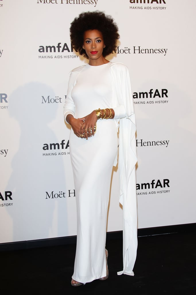 Solange worked a totally elegant angle at the amfAR Milano gala in a sleek, long-sleeved white gown.