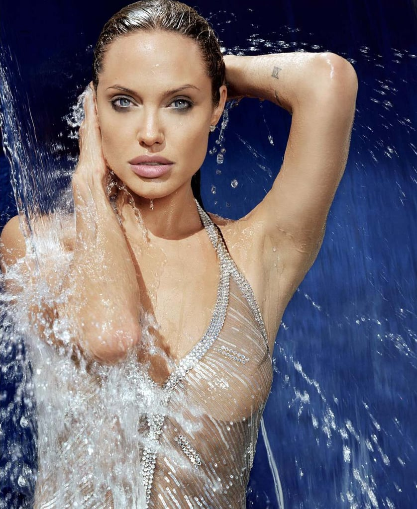 """Angelina Jolie slipped into a skimpy suit for Esquire's November 2004 """"Women We Love"""" issue."""