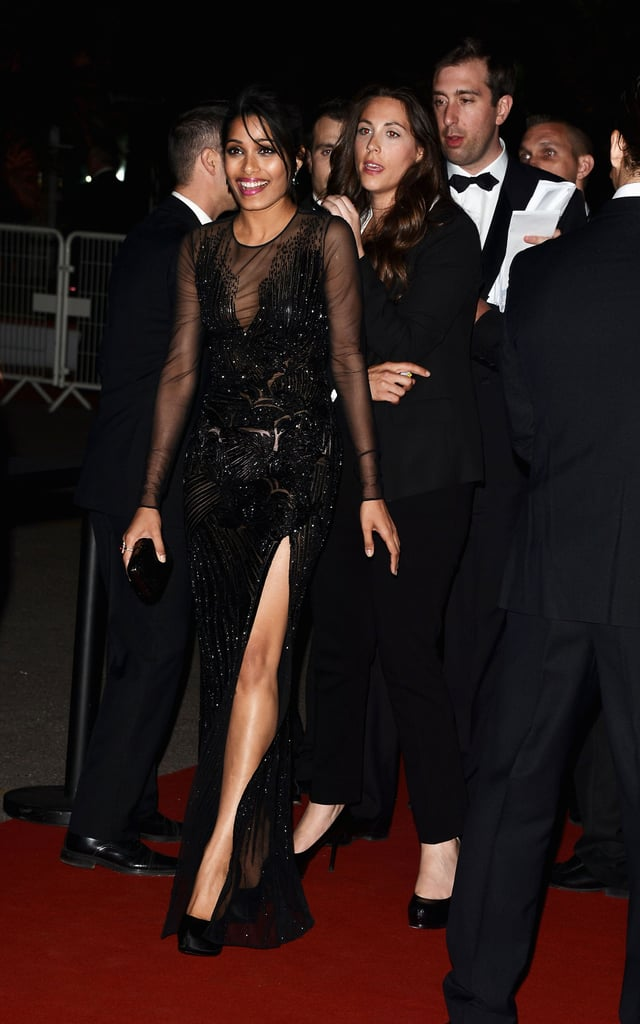 Freida Pinto showcased her sexy slit while heading into the event.