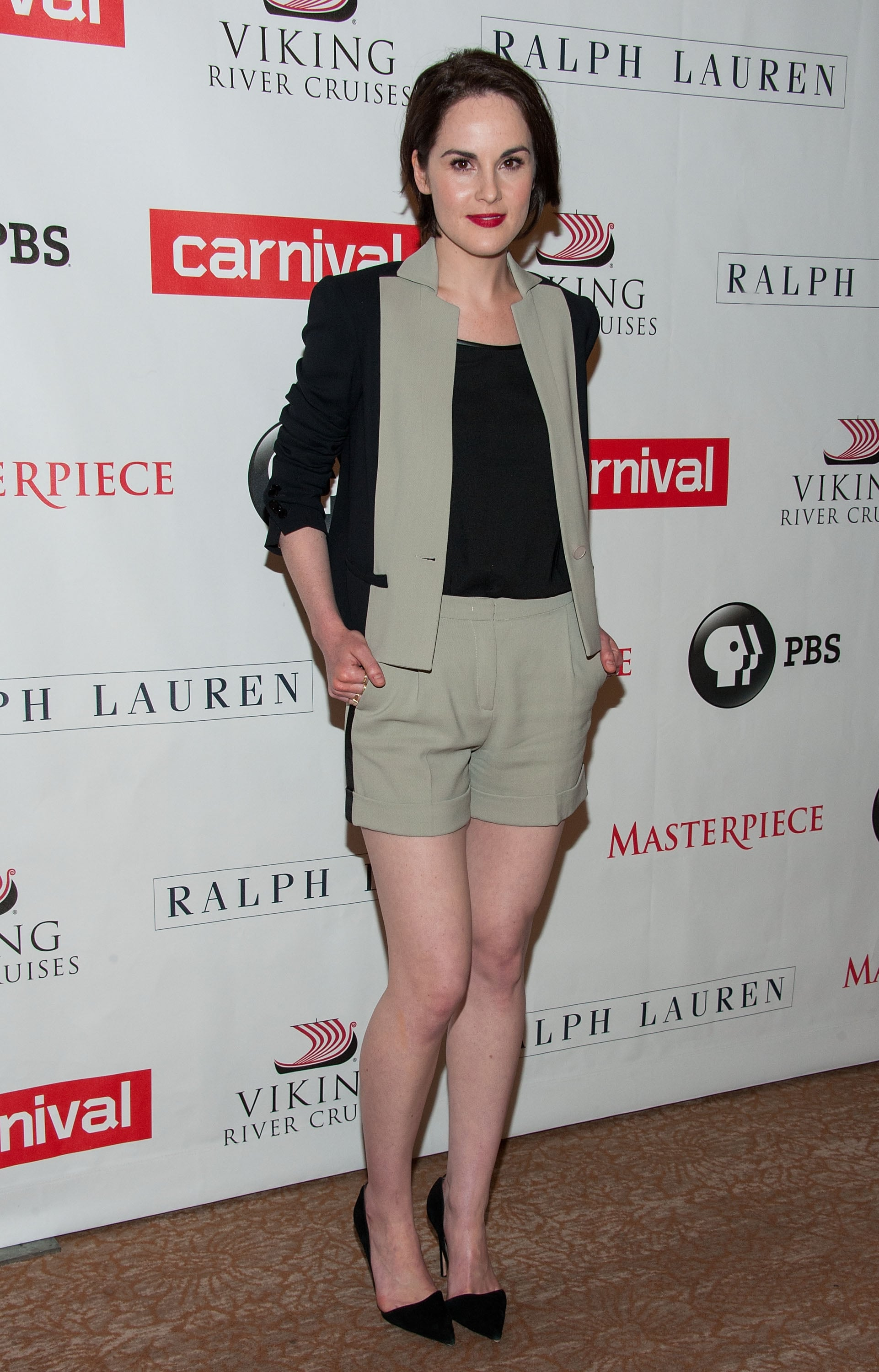Michelle Dockery arrived for a Downton Abbey press event in Elie Saab's colorblock separates.
