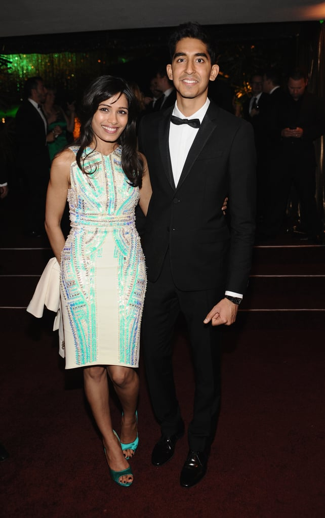 Dev Patel and Freida Pinto were coupled up inside.