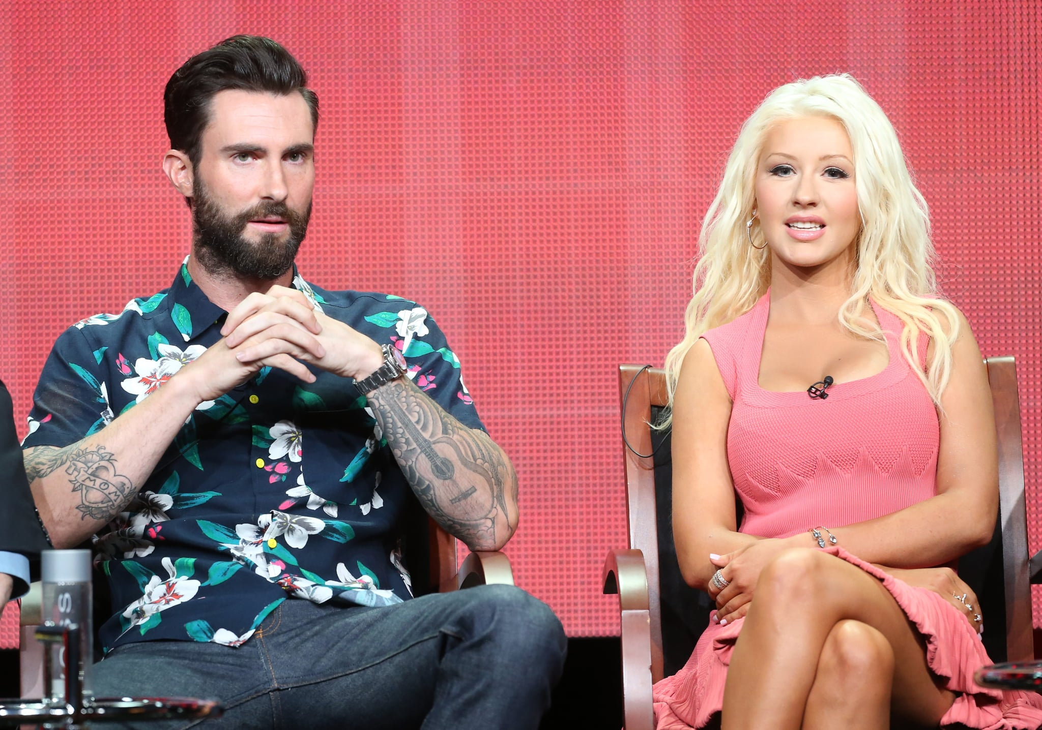 Christina Aguilera and Adam Levine were on the panel to talk about The Voice.