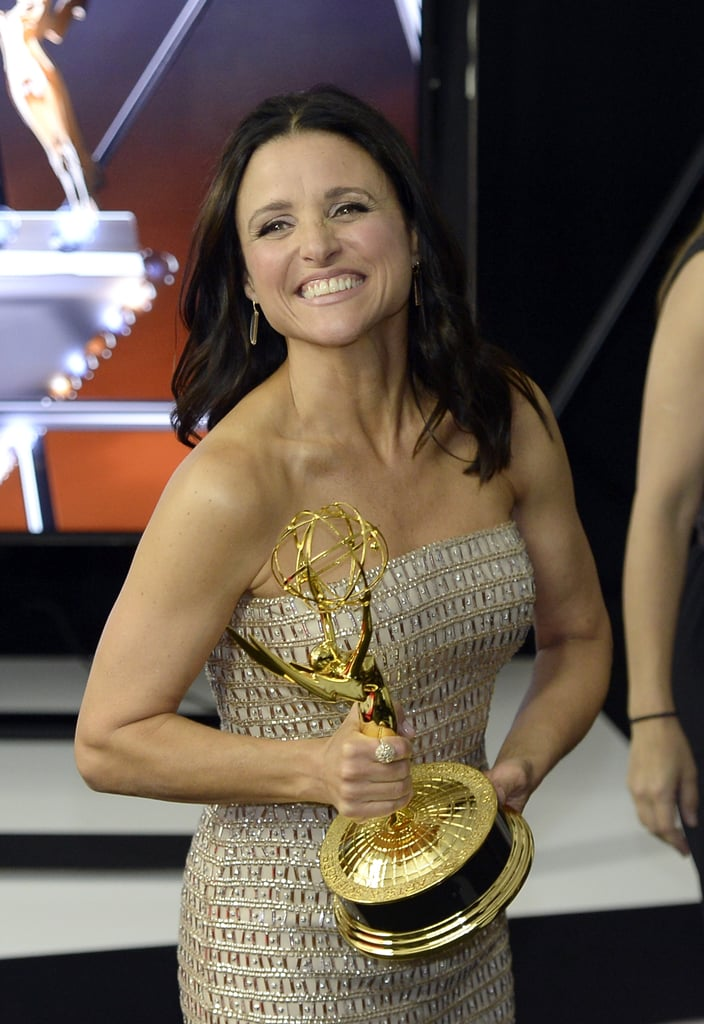 Julia Louis-Dreyfus gave a big grin after winning the award for best leading actress in a comedy for Veep.